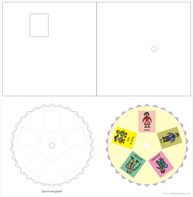 Rotating Cycle Card Template - Craft for Kids