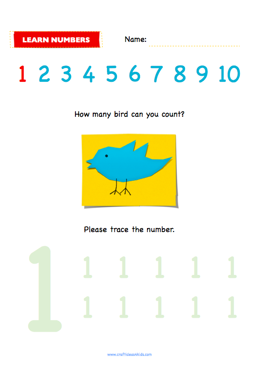 worksheet for preschool counting and tracing number 1 to 10